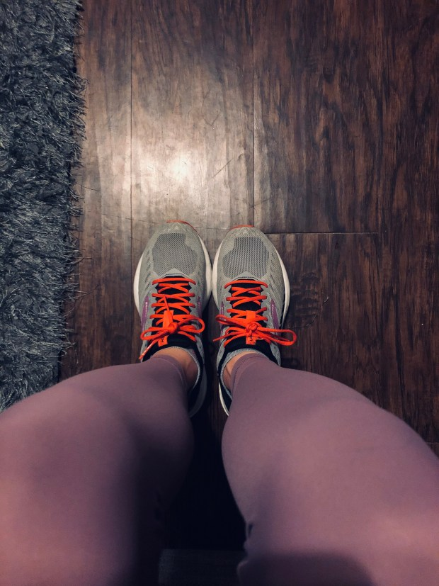 Running shoes and leggings