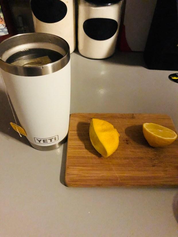 Lemon ginger tea in YETI