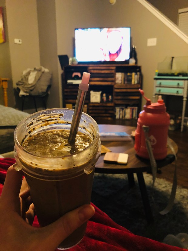 Breakfast smoothie in living room