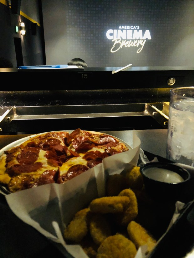 Flix Brewhouse, pizza, and fried pickles