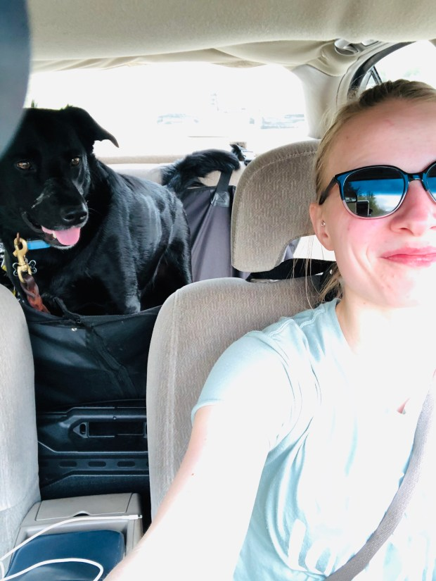Chance and I in the car moving to Tennessee