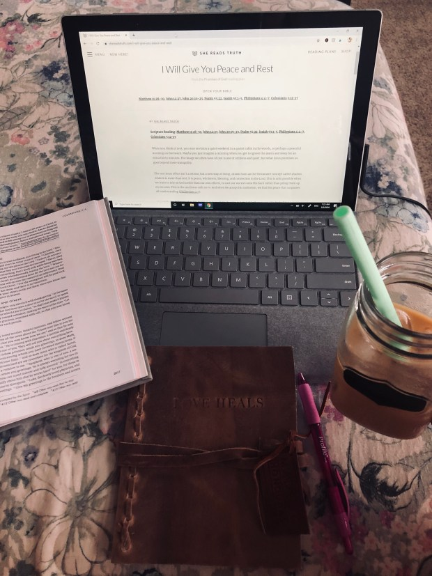Morning devotional with iced coffee