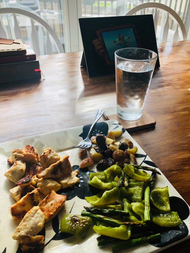 Grilled chicken, veggies, and potatoes