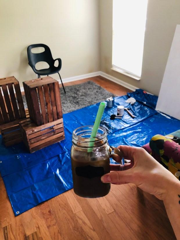 Iced coffee and DIY desk