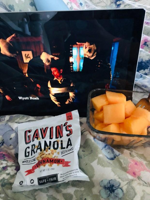 Granola and cantaloupe