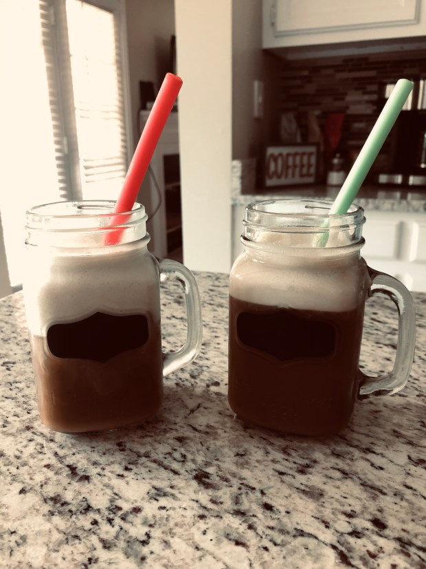 Iced coffee with foam