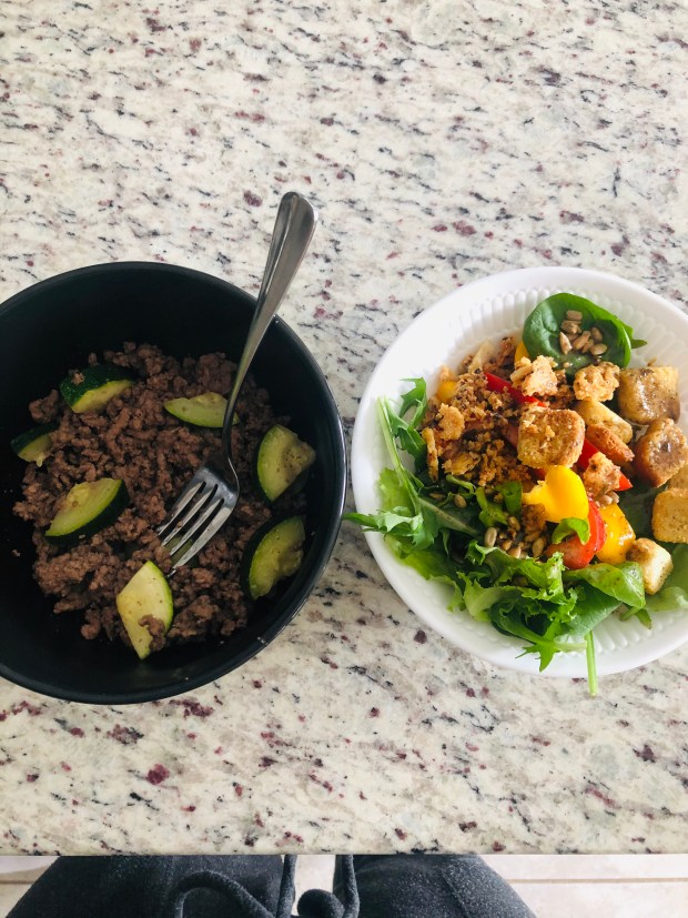 Ground beef and zucchini and a salad