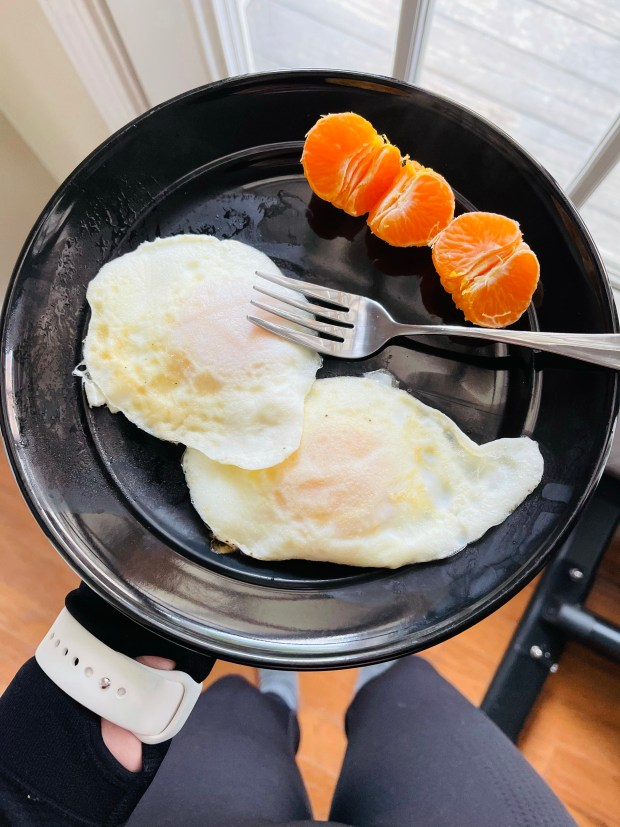 Eggs and orange slices