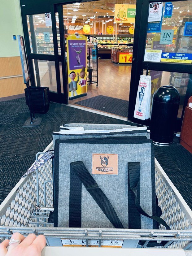 Reusable grocery bags in cart