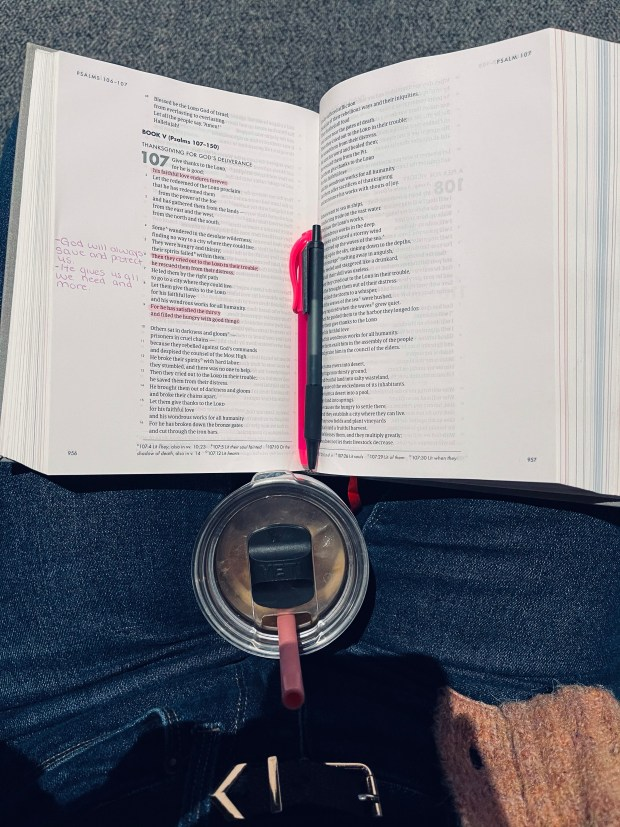 Bible, highlighters, and coffee at church