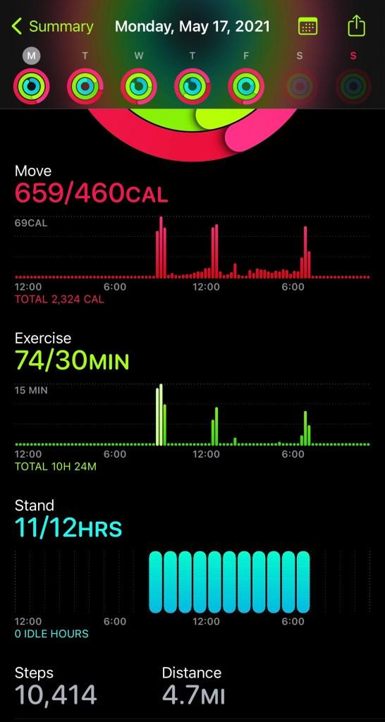 apple watch activity statistics