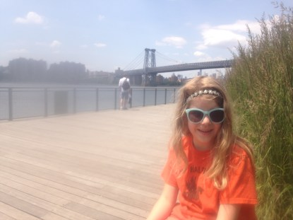Waiting for the ferry. Williamsburg Bridge in the background.