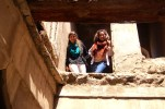 Liz and I exploring one of the abandoned houses. We went up a staircase to discover there was no floor!
