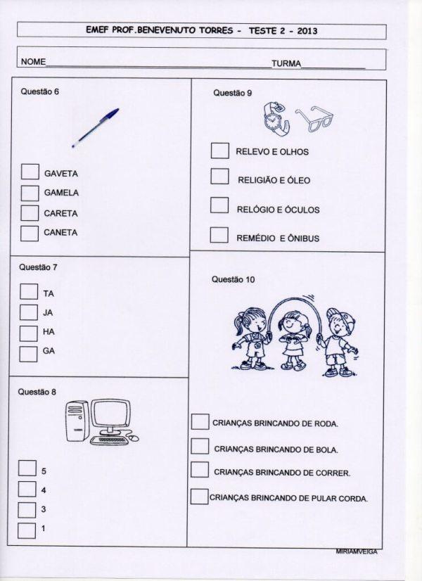 Provinha Brasil - teste 2 - Português - Ano 2013 parte 2