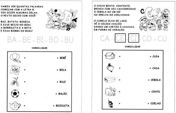Sílabas - Turma da Mônica - B e C