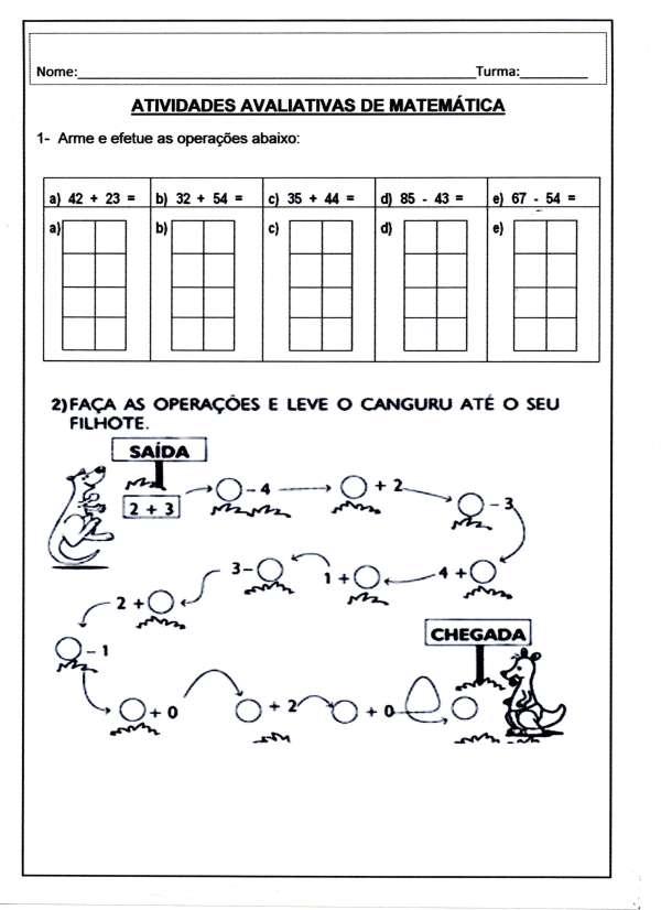 Atividade Avaliativa Matemática 2º e 3º ANOS - Folha 01