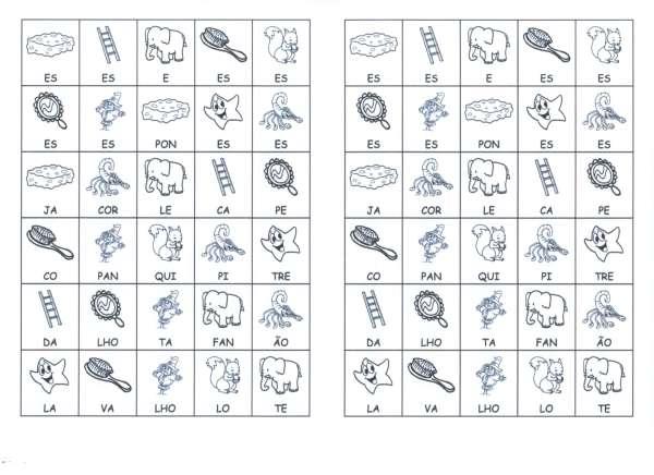Desenhos com sílabas para montar D-E - Folha 01