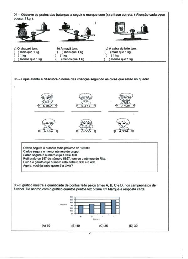 Atividade de Matemática-4 Ano-Parte 2