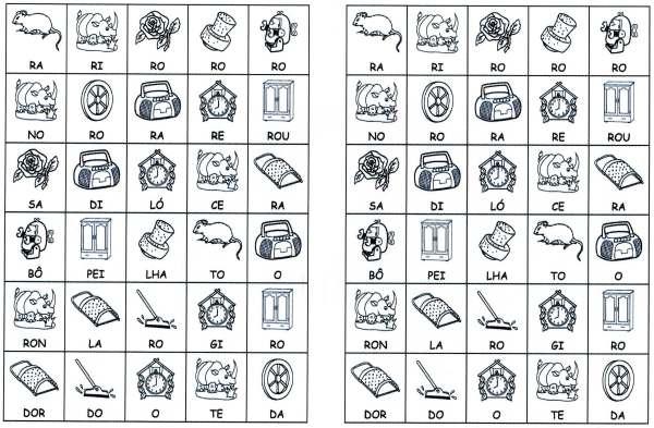 Desenhos com sílabas para montar R e S-Letra R