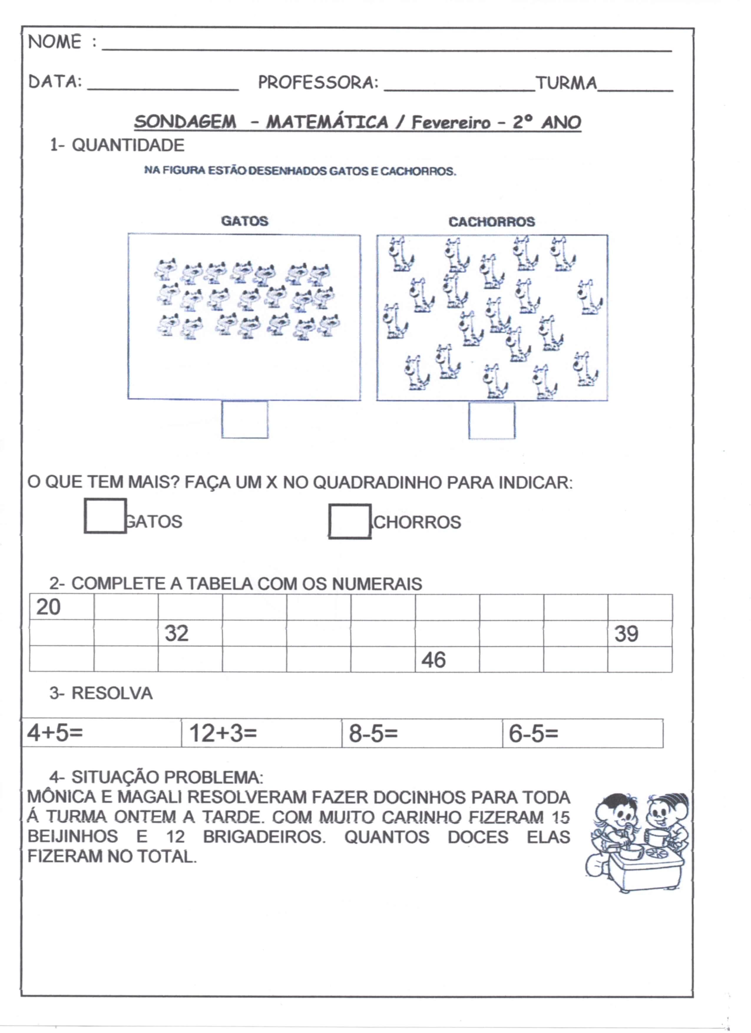 Sondagem Matematica 2 Ano Fevereiro Alfabetizacao Blog