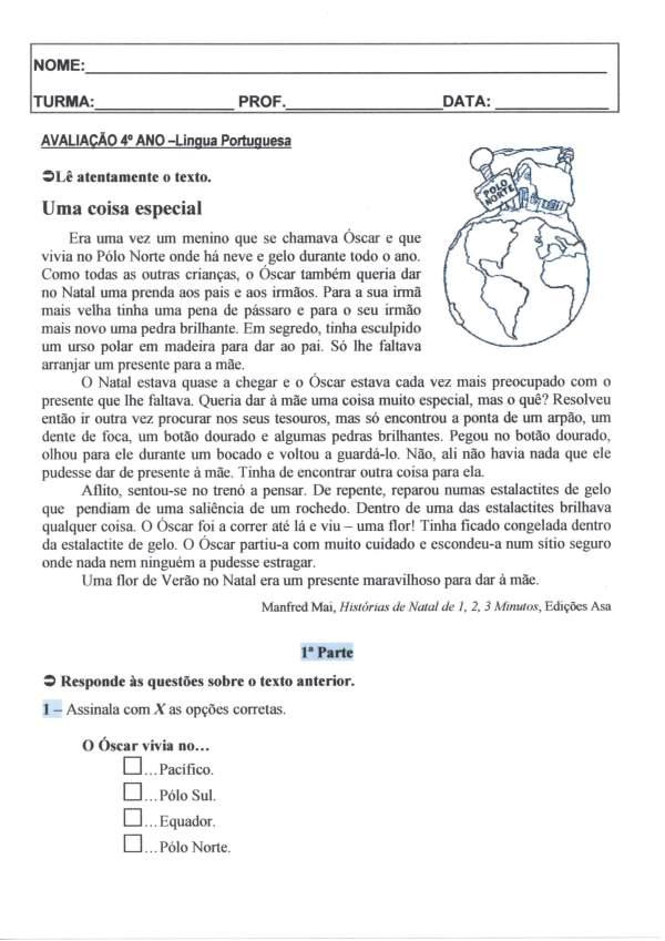 Avaliação 4 Ano-L Portuguesa-Interpretação-Parte 1-Folha 1