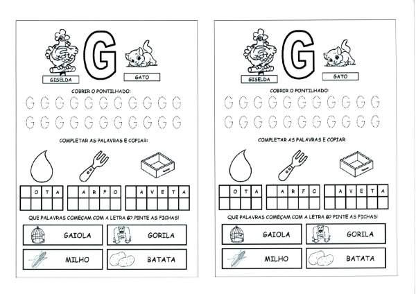 Alfabeto com as Letras Iniciais e Pontilhadas-Parte 2-Letra G