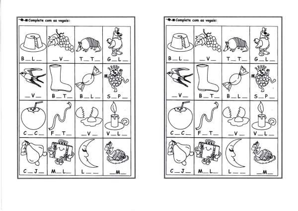 Atividades com vogais-Completar e pintar-Folha 1