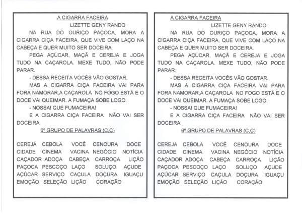 Letras C e Ç-Texto A Cigarra Faceira-Lista de palavras C e Ç