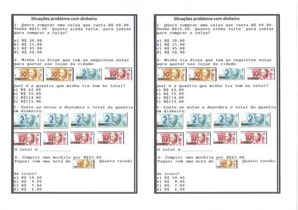 Matemática-Sistema Monetário-Situações Problema