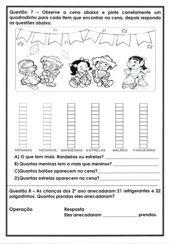 Avaliação Junina-Parte 2-Gráfico e Produção de Texto-Folha 3