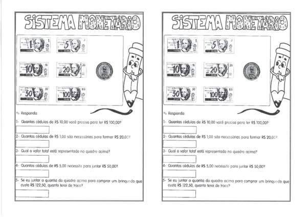 Sistema Monetário-Calcular e identificar Cédulas e Moedas-Folha 1