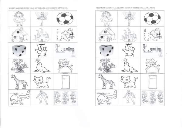 Quadro com figuras e letras para fazer a correspondência-Folha 1