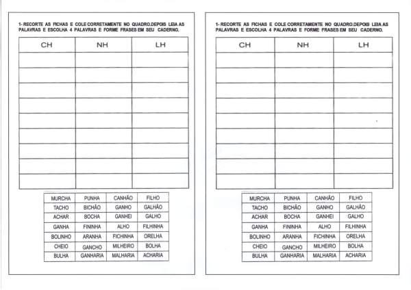 Dificuldades Ortográficas LH-NH-CH Recorte e Cole