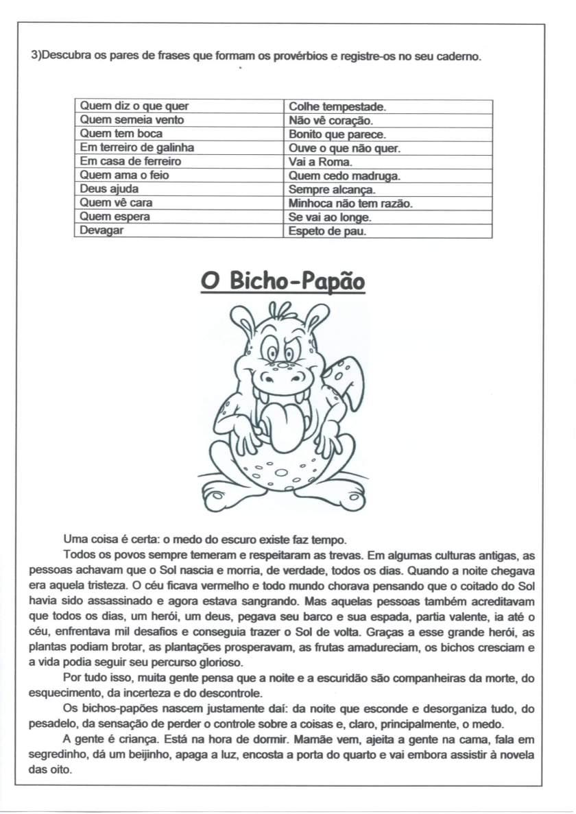 Personagens do Folclore-Bicho-Papão-Folha 1