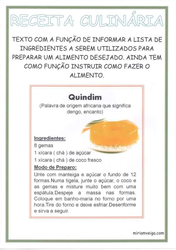 Cartaz para Sala de Aula Gêneros Textuais-Receita Culinária