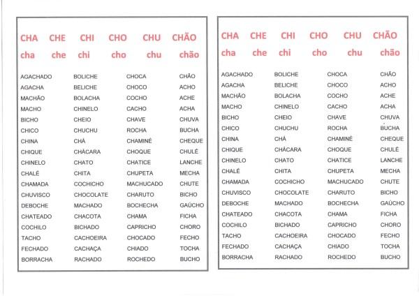 Listas de Palavras com CH