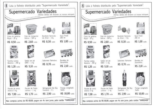 Sistema Monetário-Folheto de Supermercado para Atividade
