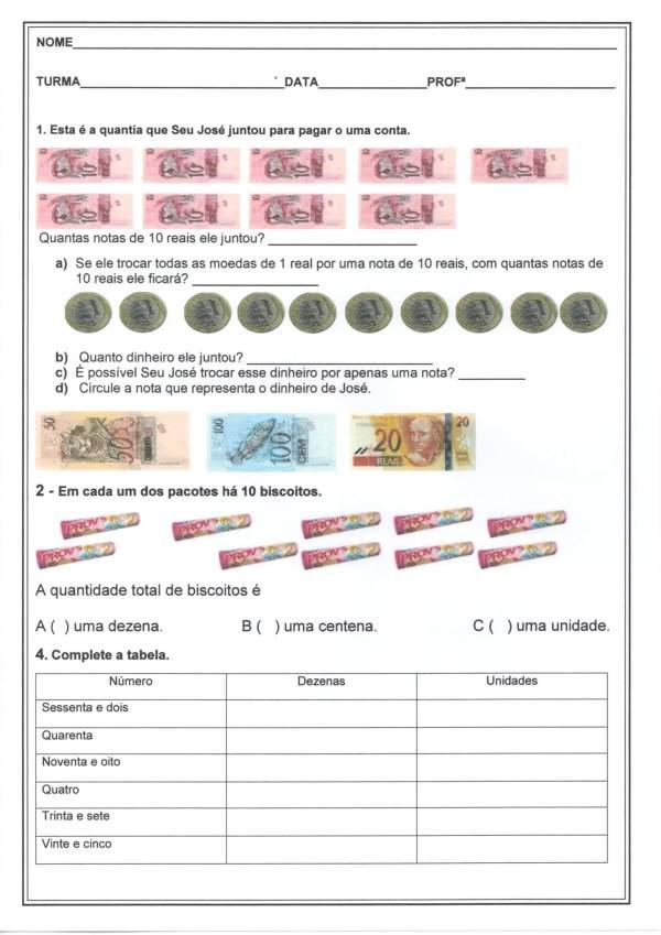 Avaliação Matemática-2 Ano-Sistema Monetário CDU