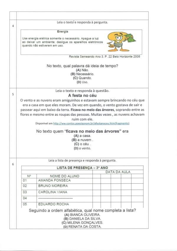 Avaliação Diagnóstica 2 e 3 Ano-Português Parte 2-Folha 2