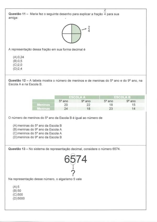 Avaliação Diagnóstica de Matemática 4 e 5 Ano-Parte 3-Folha 1