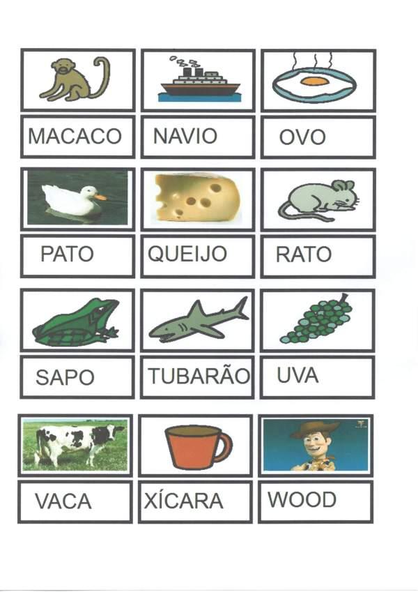 Jogo do Alfabeto-Letra Figura Palavra-Parte 2-Folha 1