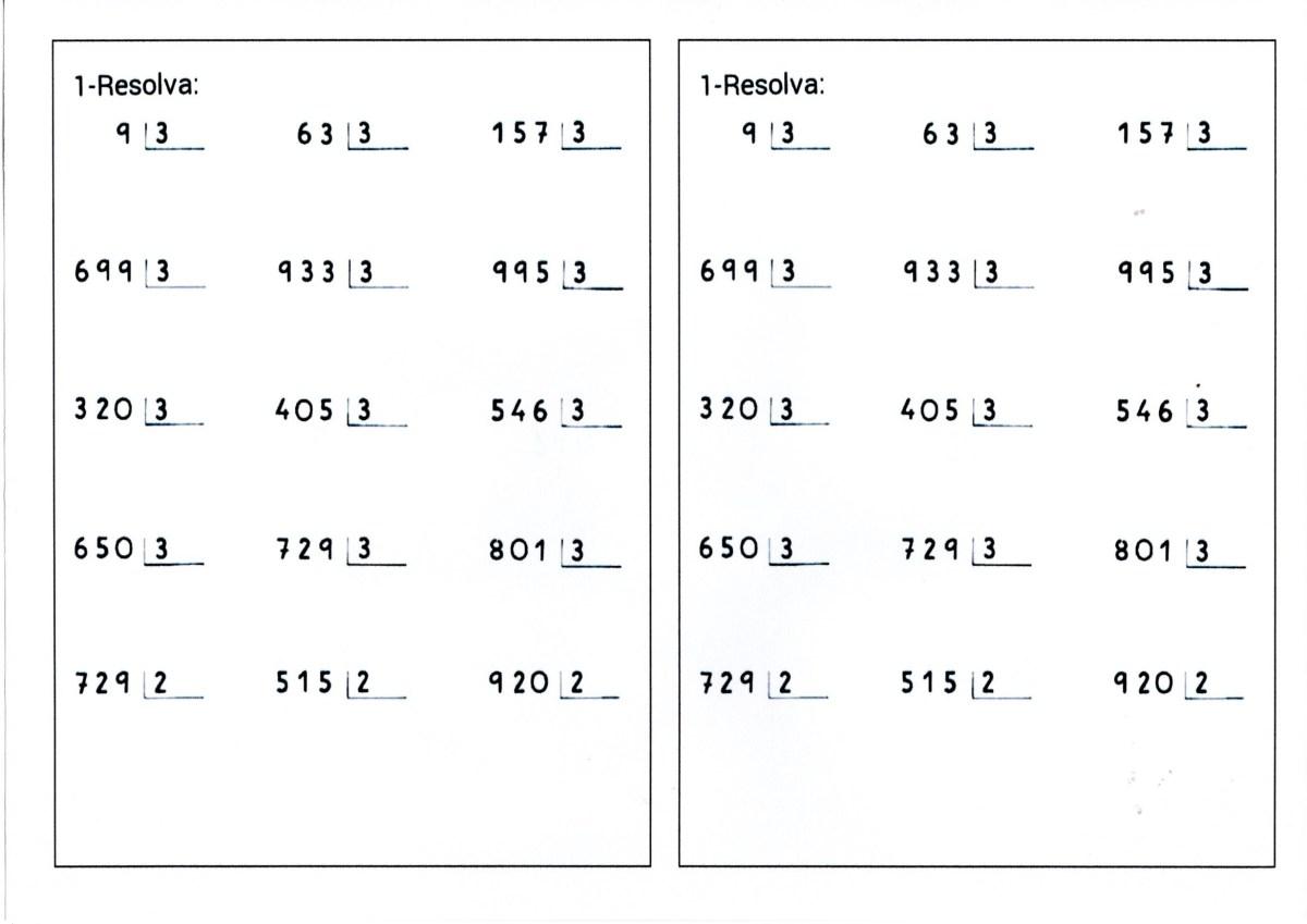 Divisão com contas prontas por 2 e por 3