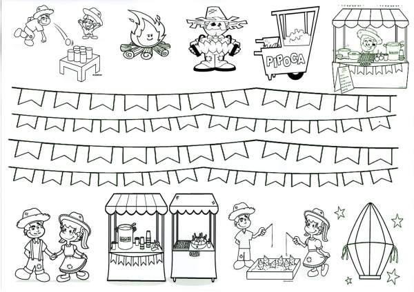 Desenhos para recortar e montar a Festa Junina