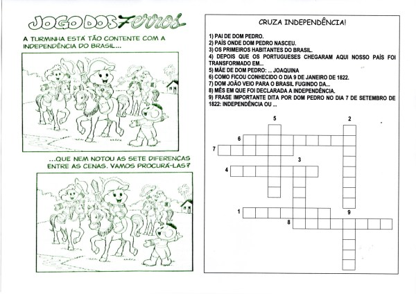 Independência do Brasil-Sete erros e Cruzadinha