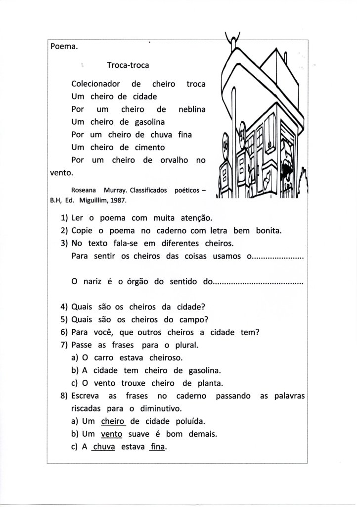 Poema Órgãos dos sentidos-Acróstico com CH e X-Folha 1