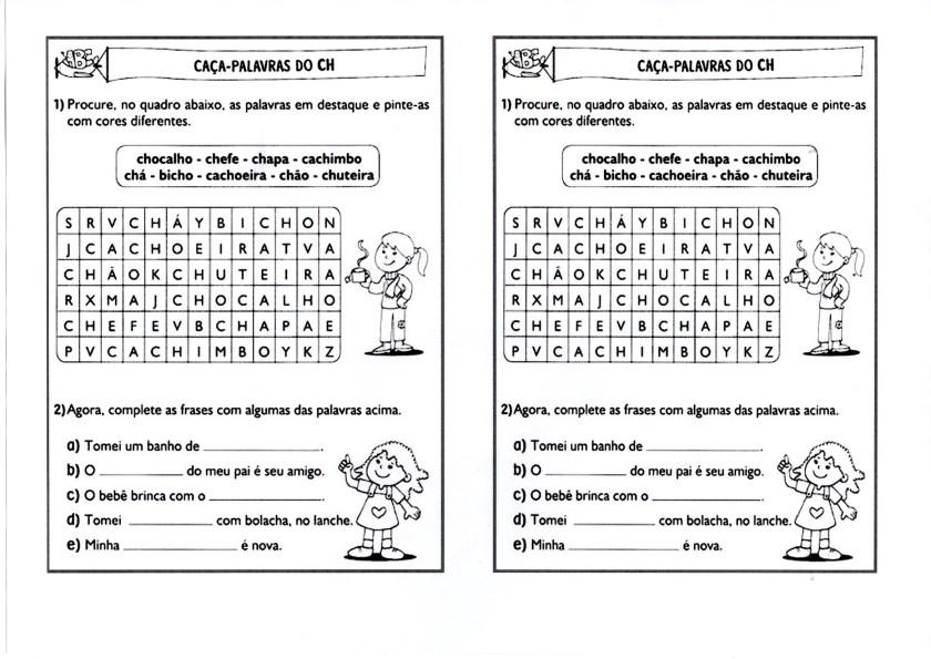 Caça-Palavras CH e frases para completar