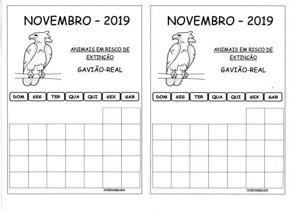 Calendário 2019 Novembro-Aluno