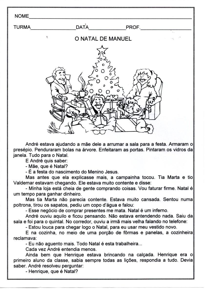 Avaliação de Língua Portuguesa-Leitura e Interpretação-Texto sobre o Natal-Folha 1