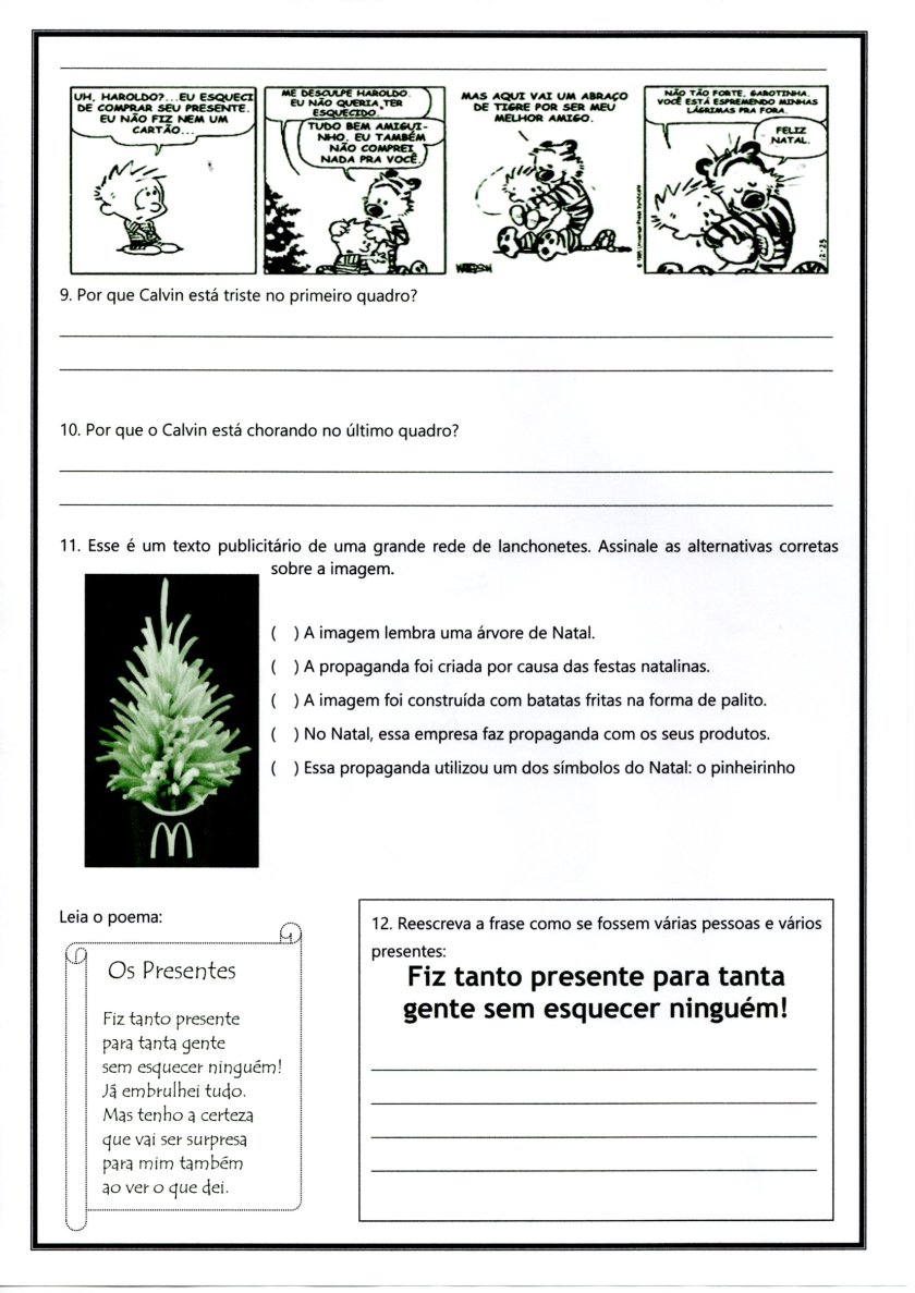 Avaliação de Língua Portuguesa-Parte 2-Tipos de texto-Folha 3