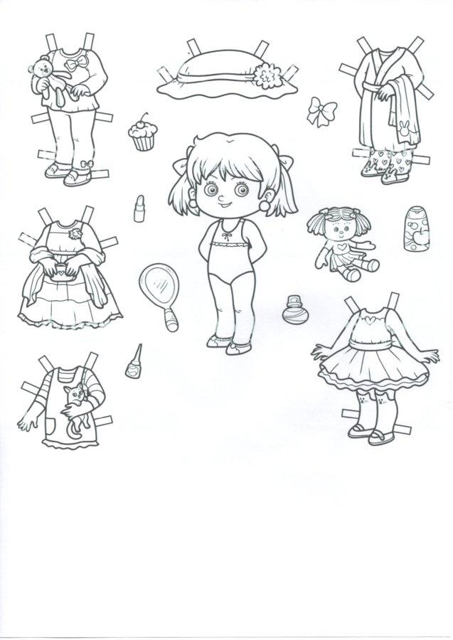 Bonequinha de papel com roupinhas para recortar. Atividade para recortar, pintar e colar que pode ser usada na Educação Infantil ou Fundamental.